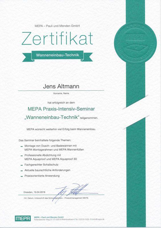 2018-04-19 Zertifikat Wanneneinbau Technik Jens Altmann