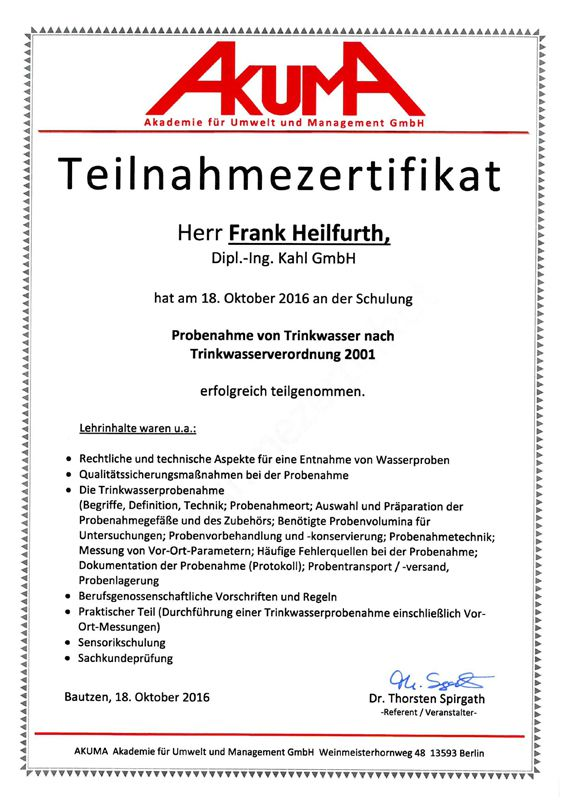 2016-10-18 Teilnahmezertifikat Frank Heilfurth
