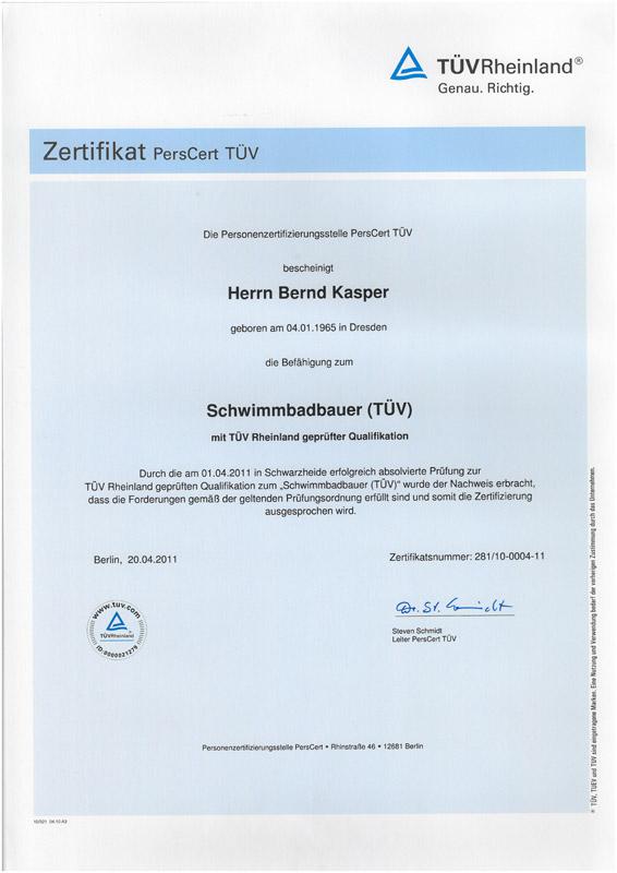 2011-04-01 Zertifikat Schwimmbadbauer Bernd Kasper
