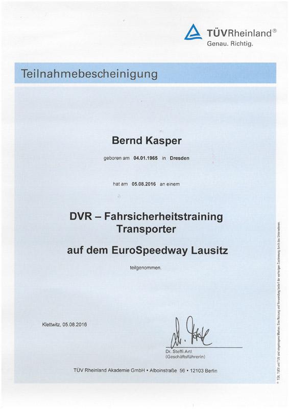 2016-08-05 Teilnahmebescheinigung DVR Fahrsicherheitstraining Transporter Bernd Kasper